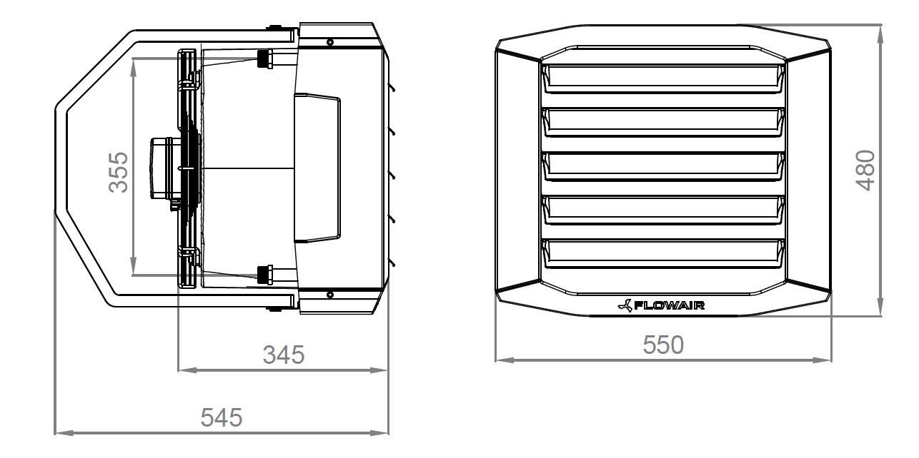 Габаритные размеры воздухонагревателя Flawair Leo XL3 BMS